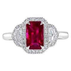 2.34 Carat Ruby and Diamond White Gold Three-Stone Ring