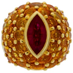 Chatila 2.34 Carat Ruby Ring With Yellow Sapphires
