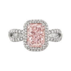 2.34 Carat Very Light Pink Radiant Diamond Internally Flawless in Platinum, GIA