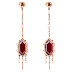 23.42 Carat Red Garnet Earring in 18 Karat Rose Gold with Diamonds and Pearls