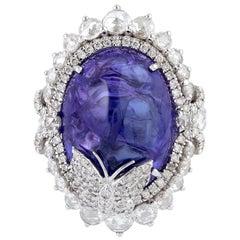 23.44 Carat Tanzanite 18 Karat White Gold Butterfly Diamond Ring