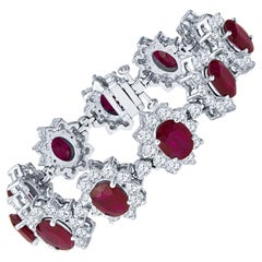 23.45 Carat Oval Ruby and 14.40ct Round Diamond Floral 18k White Gold Bracelet