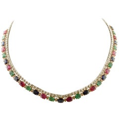 23.45ct Rubies Emeralds Blue Sapphires, Diamonds, 14K White Rose Gold Necklace