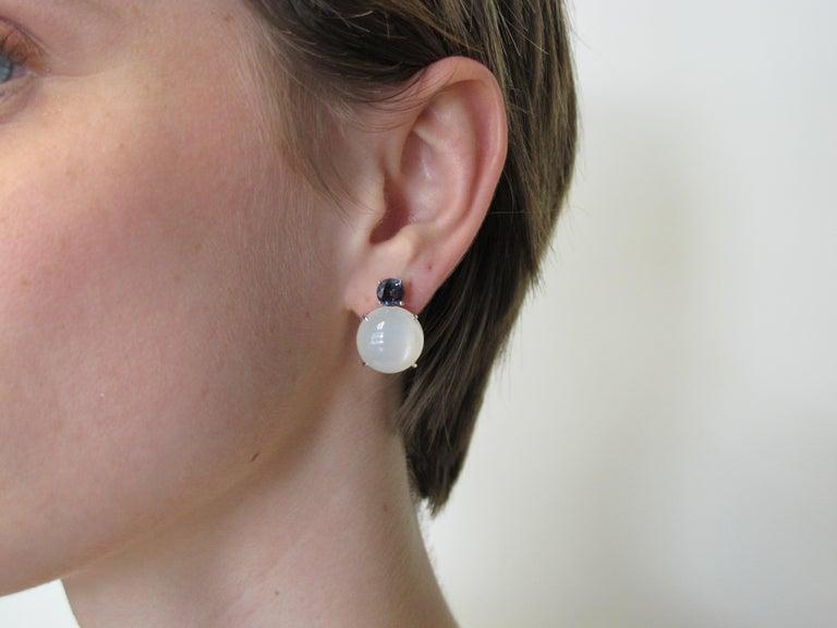 Artisan 23.47 Carat Moonstone and 1.91 Carat Spinel 18 Karat White Gold Earrings For Sale