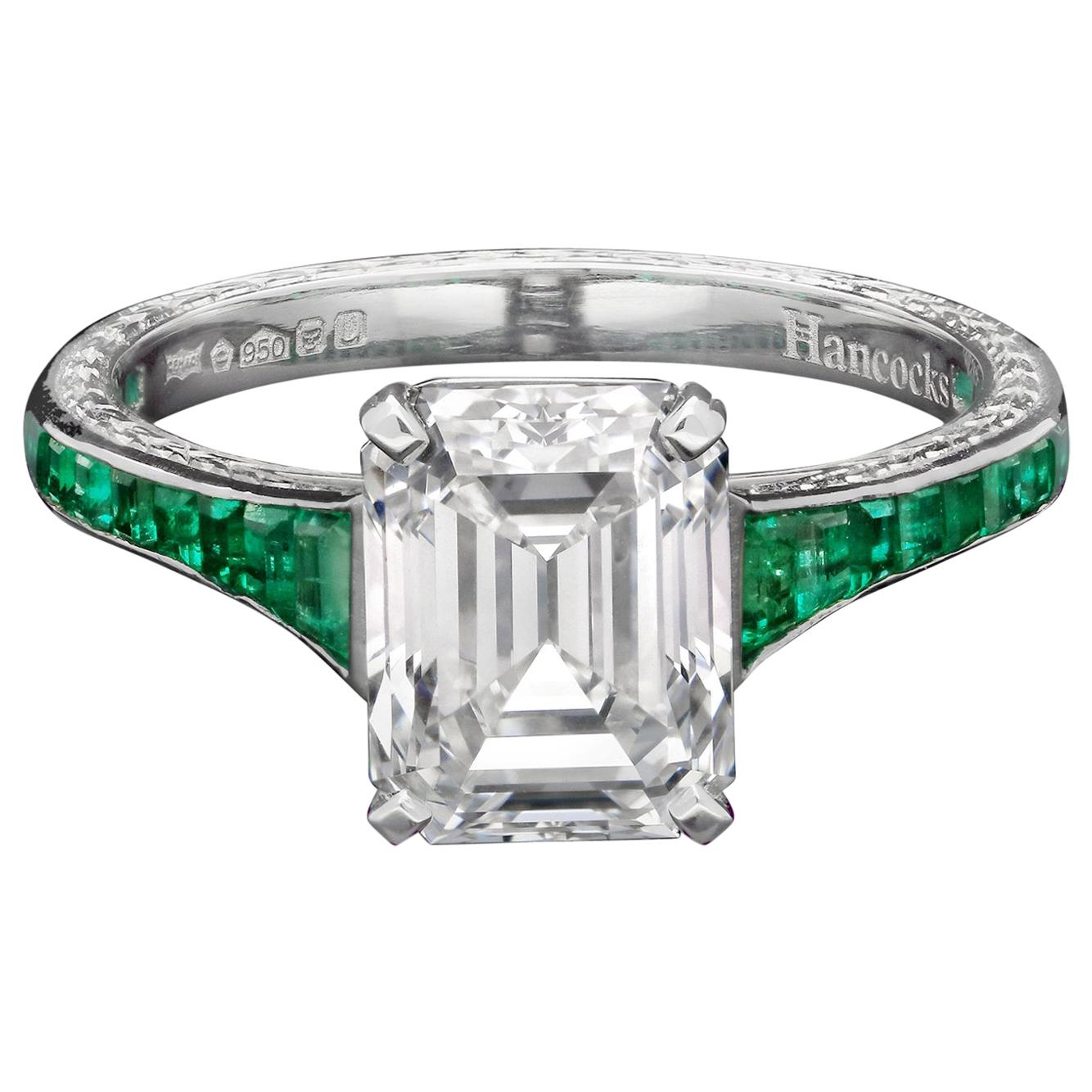 2.34ct F VS2 Vintage Emerald-Cut Diamond with Emerald Shoulders Ring by Hancocks