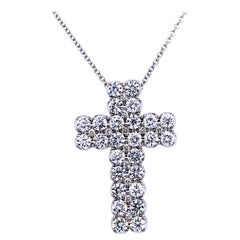 2.35 Carat, 18 Karat Gold U-Pave Set Diamond Cross Pendant