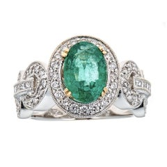 2.35 Carat Oval Cut Emerald Vintage Style Ring Diamond 14 Kt White Gold Jewelry