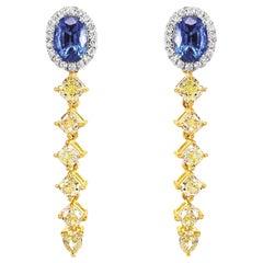 2.35 Carat Fancy Intense Yellow Diamond Sapphire 2.01 Carat Dangle Earring 18K