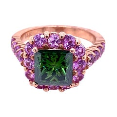 2.35 Carat Green PC Diamond in 14 Karat Ring with Halo Set with Pink Sapphires