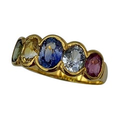 2.35 Carat Multicolor Sapphire Ring Green Yellow Blue Pink Sapphires Gold