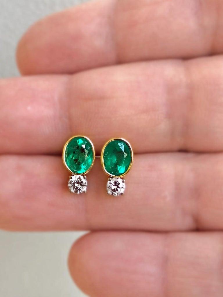 Art Deco 2.35 Carat Natural Colombian Emerald Diamond Stud Earrings 18 Karat For Sale