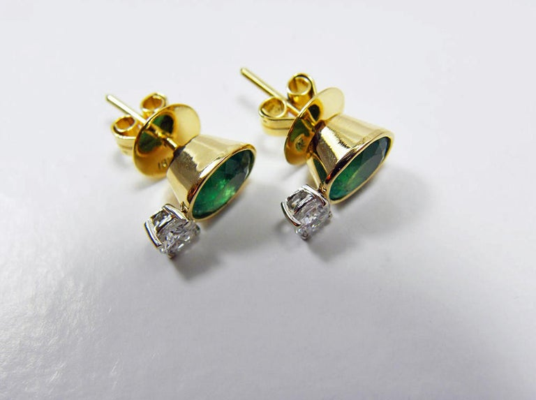 2.35 Carat Natural Colombian Emerald Diamond Stud Earrings 18 Karat In New Condition For Sale In Brunswick, ME