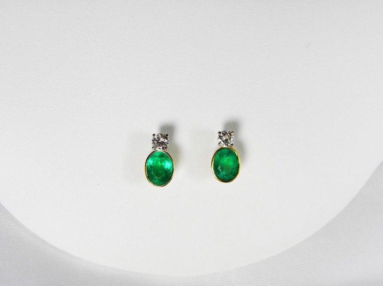 Women's 2.35 Carat Natural Colombian Emerald Diamond Stud Earrings 18 Karat For Sale