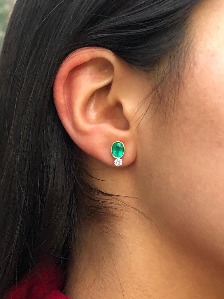 2.35 Carat Natural Colombian Emerald Diamond Stud Earrings 18 Karat For Sale 1