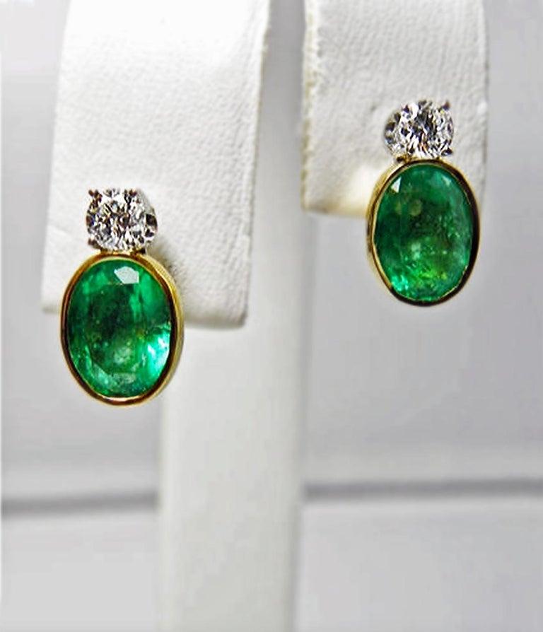 2.35 Carat Natural Colombian Emerald Diamond Stud Earrings 18 Karat For Sale 4