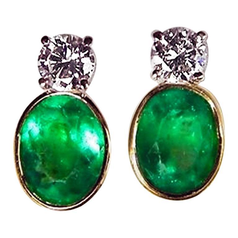2.35 Carat Natural Colombian Emerald Diamond Stud Earrings 18 Karat For Sale