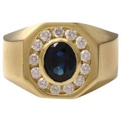 2.35 Carat Natural Diamond & Blue Sapphire 14 Karat Solid Yellow Gold Men's Ring