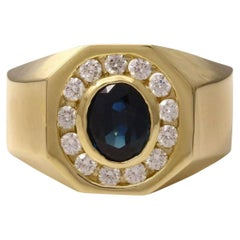 2.35 Carat Natural Diamond & Blue Sapphire 14 Karat Solid Yellow Gold Men's Ring