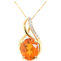 2.35 Carat Natural, Faceted Fire Opal and Diamond Pendant Set in 18K Yellow Gold