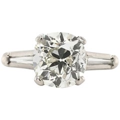 2.35 Carat Old Mine Cut Platinum Solitaire Engagement Ring