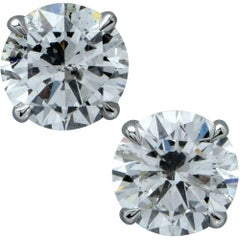 2.35 Carat Round Brilliant Cut Diamond Solitaire Stud Earrings