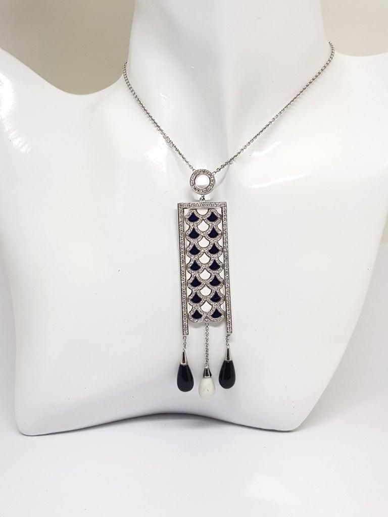 Contemporary 2.35 Carat White Gold Necklace Diamond Enamel Pendant For Sale