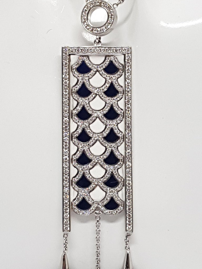 2.35 Carat White Gold Necklace Diamond Enamel Pendant In New Condition For Sale In Antwerp, BE