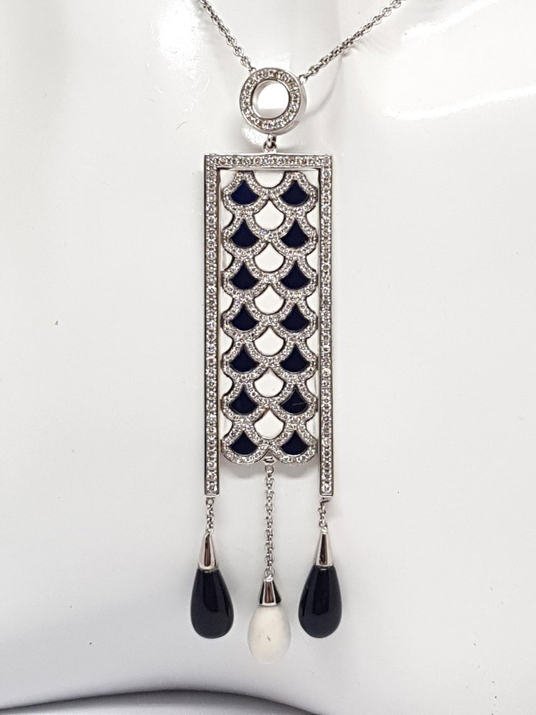 Women's 2.35 Carat White Gold Necklace Diamond Enamel Pendant For Sale