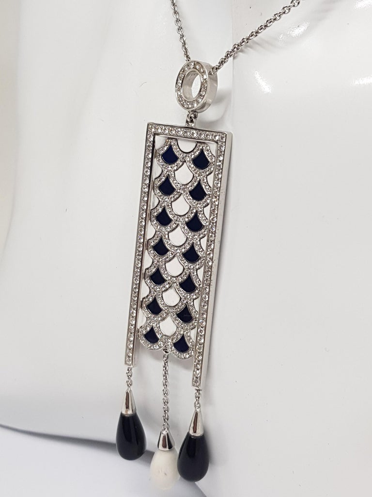 2.35 Carat White Gold Necklace Diamond Enamel Pendant For Sale 1