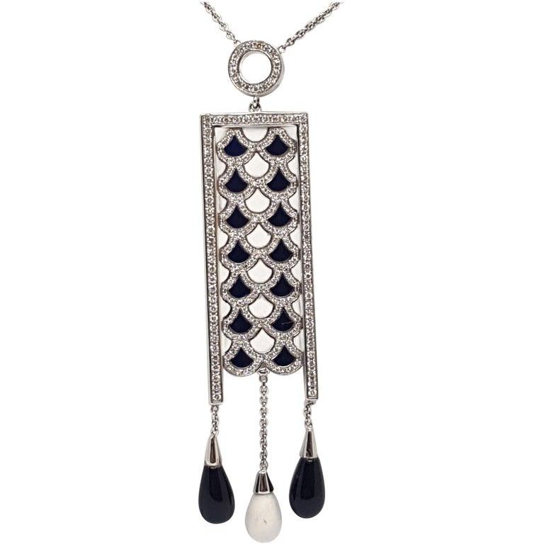 2.35 Carat White Gold Necklace Diamond Enamel Pendant For Sale