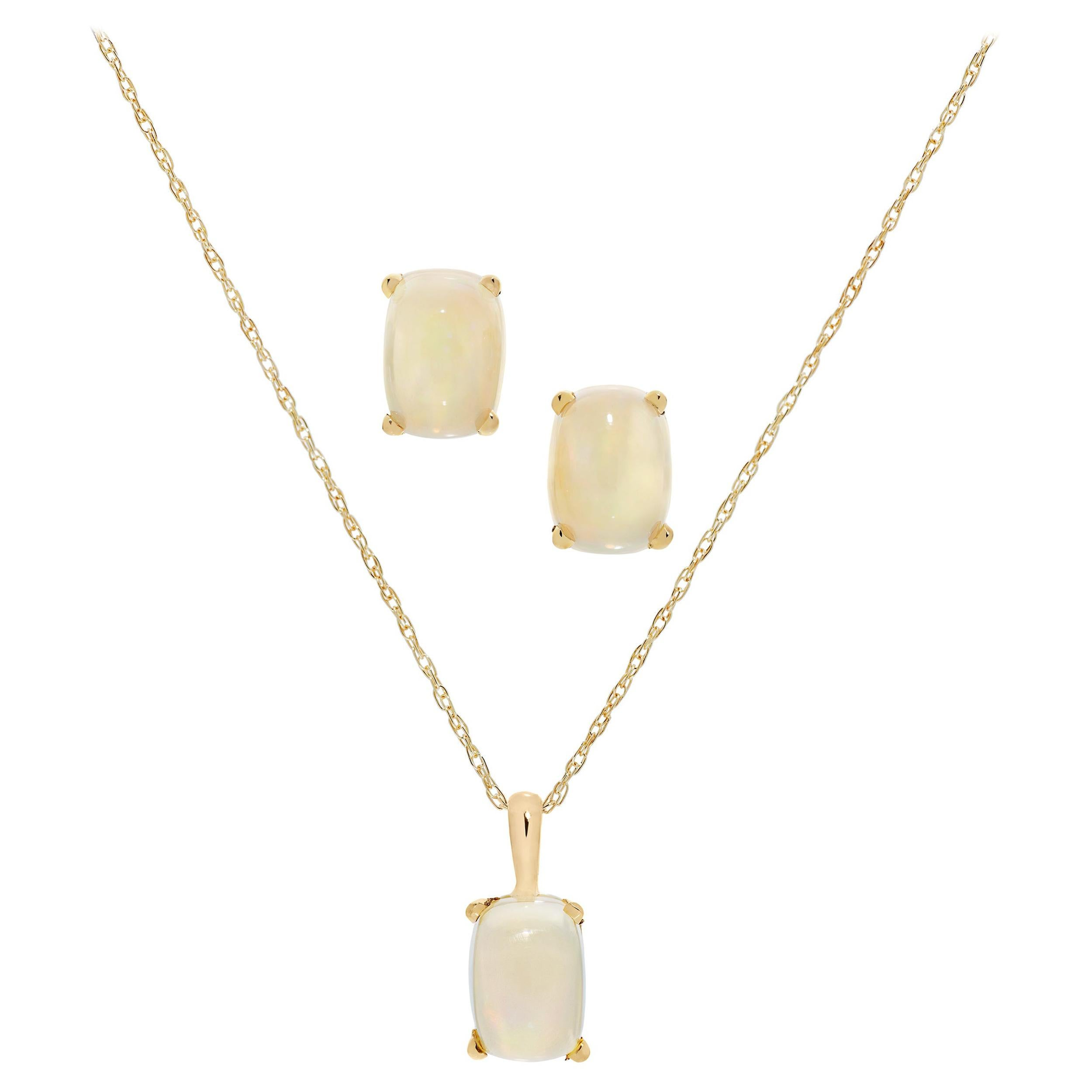 2.35 Carats Cushion Cut Opal Necklace and Earring Set in 18 Karat Yellow Gold