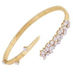 2.35 Carats Diamond 14 Karat Gold Wrap Bracelet Cuff