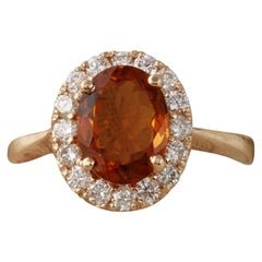 2.35 ct Exquisite Natural Madeira Citrine and Diamond 14k Solid Rose Gold Ring