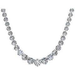 23.50 Carat Diamond Riviera Three Claws 18 Karat White Gold Tennis Line Necklace
