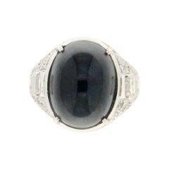 23.50 Karat Sapphire 18 Karat White Gold Diamonds Cocktail Ring