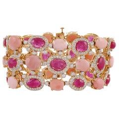 23.52 Carat Pink Opal Rose Cut Ruby Diamond 18 Karat Yellow Gold Bracelet