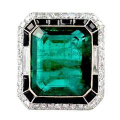23.53 Carat Emerald Diamond Onyx Platinum Ring