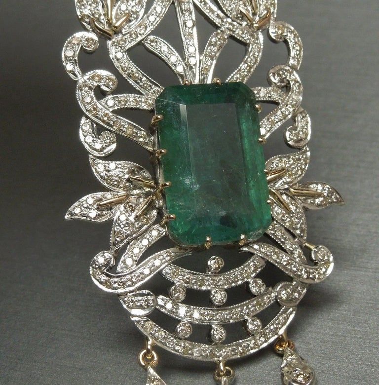 Women's 23.55 Carat Emerald Cut Emerald and Diamond Necklace For Sale