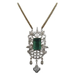 23.55 Carat Emerald Cut Emerald and Diamond Necklace