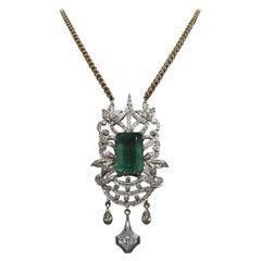 23.55 Carat Emerald Cut Emerald and Diamond Necklace