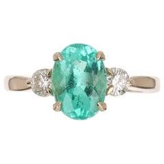 2.35tcw 14K Three Stone Oval Cut Colombian Emerald & Diamond Ring