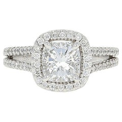 2.36 Carat Cushion Cut Diamond Engagement Ring, 14 Karat White Gold Halo GIA