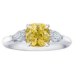 2.36 Carat Cushion Yellow Sapphire and Diamond Platinum and 18k Ring