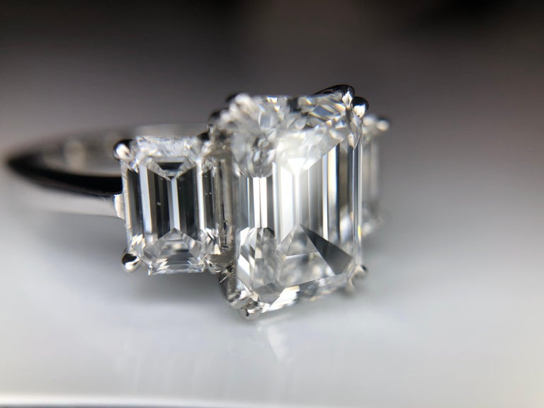 2.36 Carat D VVS2 'GIA' Emerald Cut Diamond, 1.02 Carat Sides, 3-Stone Ring In New Condition For Sale In Houston, TX