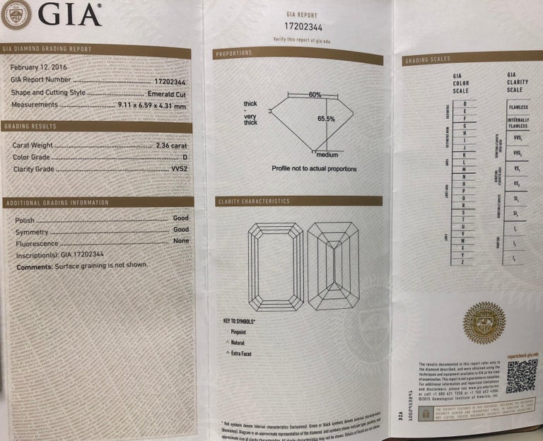 2.36 Carat D VVS2 'GIA' Emerald Cut Diamond, 1.02 Carat Sides, 3-Stone Ring For Sale 3