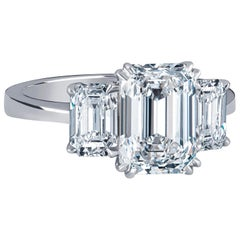 2.36 Carat D VVS2 'GIA' Emerald Cut Diamond, 1.02 Carat Sides, 3-Stone Ring