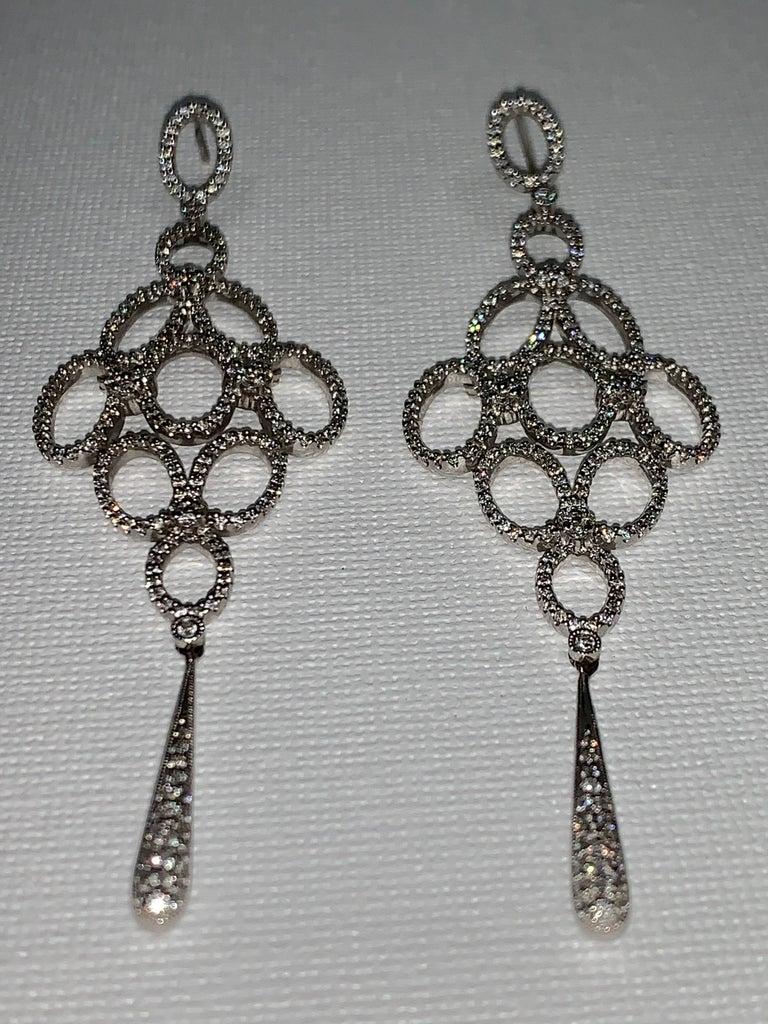Art Nouveau Handmade 2.36 Carat Diamond 18 Karat White Gold Long Dangle Earrings For Sale