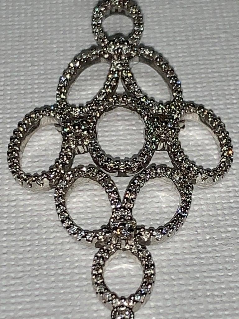 Round Cut Handmade 2.36 Carat Diamond 18 Karat White Gold Long Dangle Earrings For Sale