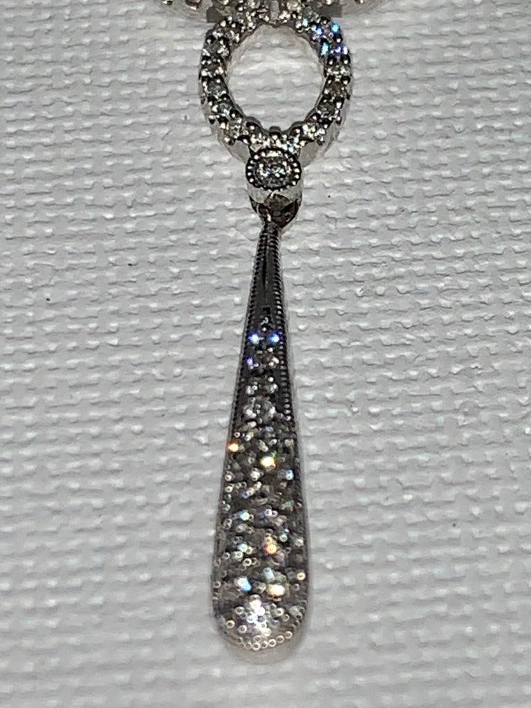 Women's Handmade 2.36 Carat Diamond 18 Karat White Gold Long Dangle Earrings For Sale