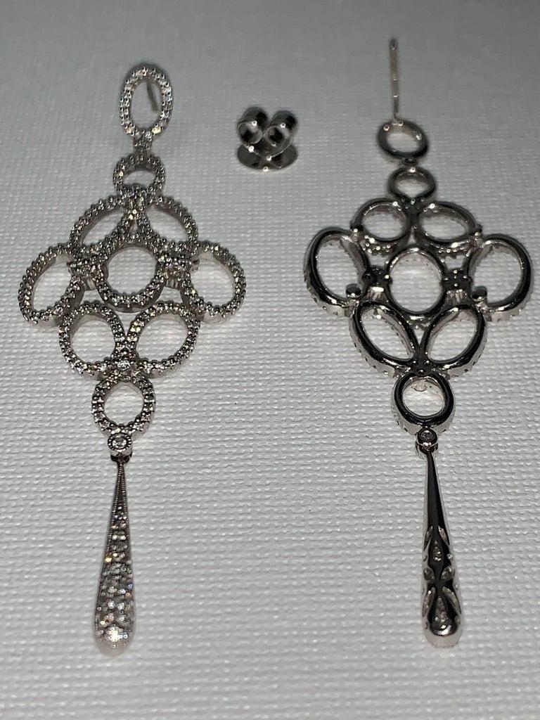 Handmade 2.36 Carat Diamond 18 Karat White Gold Long Dangle Earrings For Sale 1